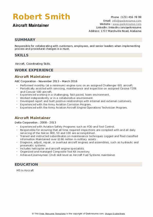 Aircraft Maintainer Resume example