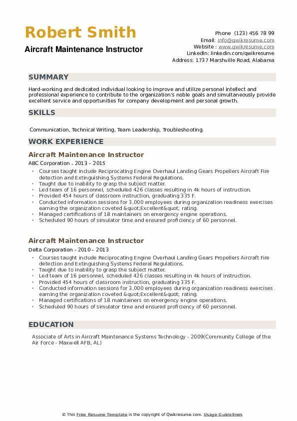 Aircraft Maintenance Instructor Resume example