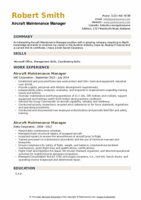 Aircraft Maintenance Manager Resume example