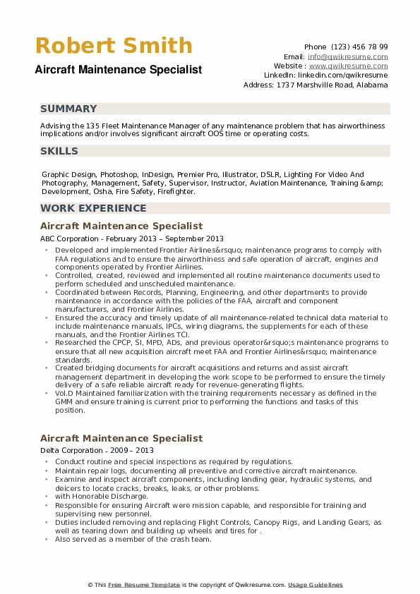 Aircraft Maintenance Specialist Resume example