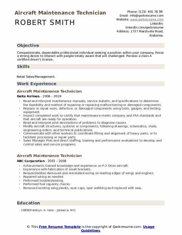Aircraft Maintenance Technician Resume Format