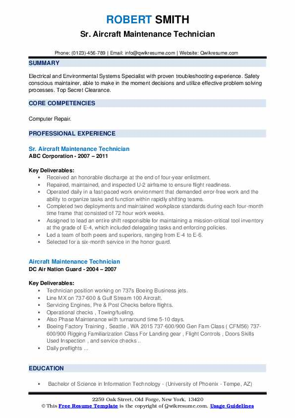 Sr. Aircraft Maintenance Technician Resume Model