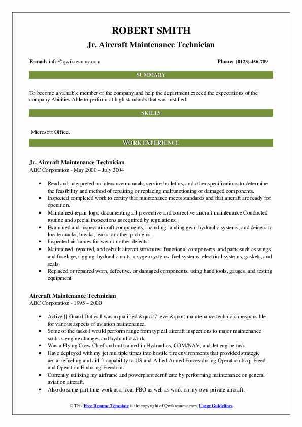 Jr. Aircraft Maintenance Technician Resume Example