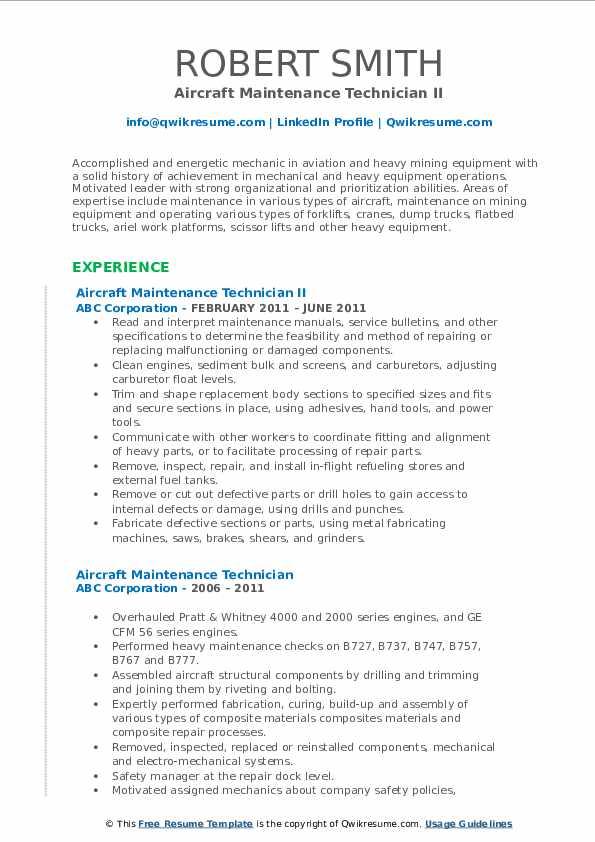 Aircraft Maintenance Technician II Resume Format