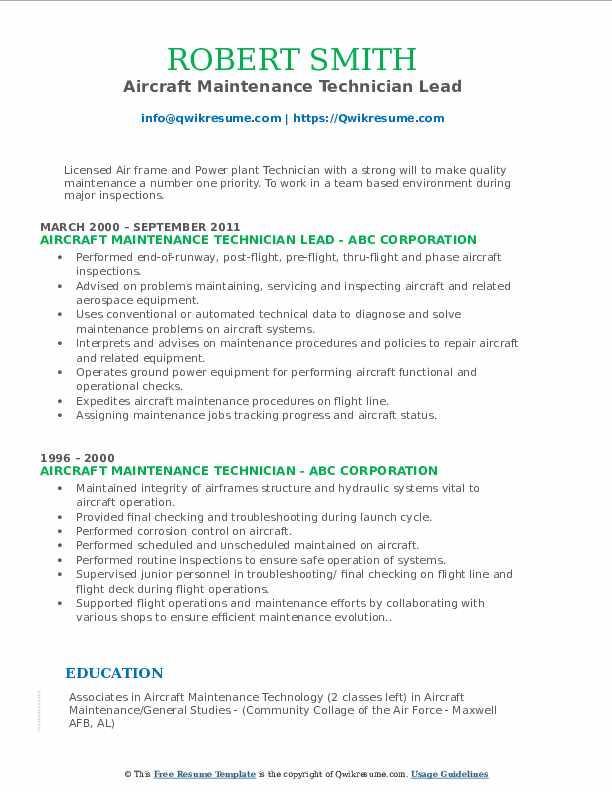 Aircraft Maintenance Technician Lead Resume Format