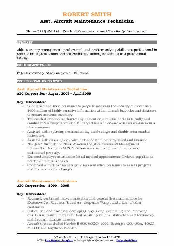Asst. Aircraft Maintenance Technician Resume Example
