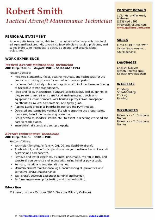 Tactical Aircraft Maintenance Technician Resume Model