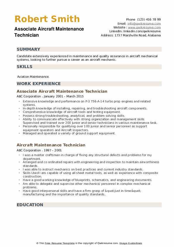 Associate Aircraft Maintenance Technician Resume Model