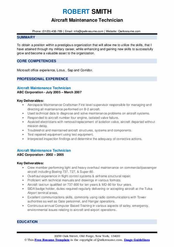 Aircraft Maintenance Technician Resume example