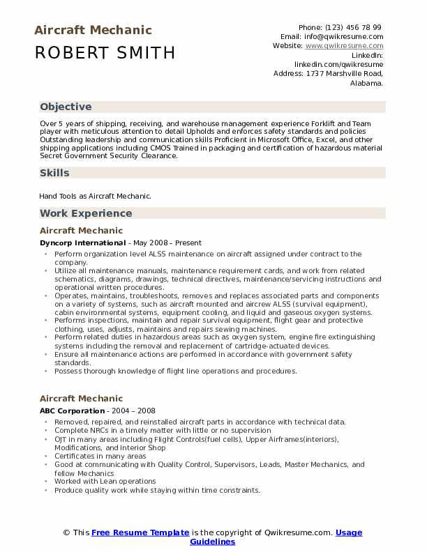 Aircraft Mechanic Resume Samples | QwikResume