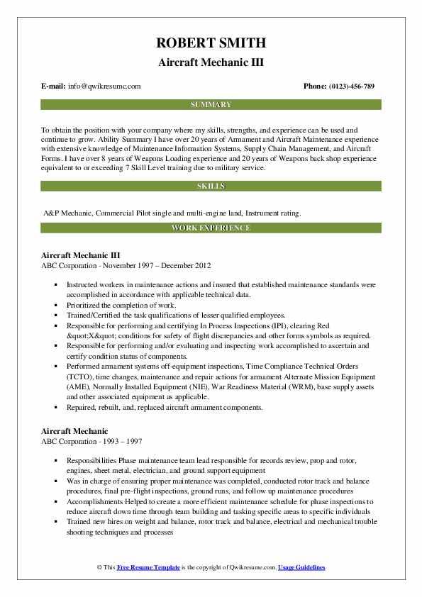 Aircraft Mechanic III Resume Example