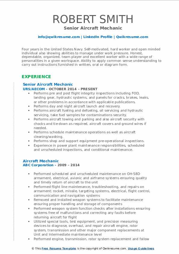 Senior Aircraft Mechanic Resume Sample