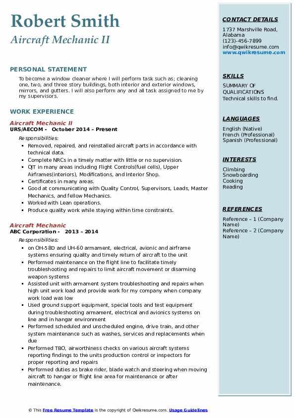 Aircraft Mechanic II Resume Example