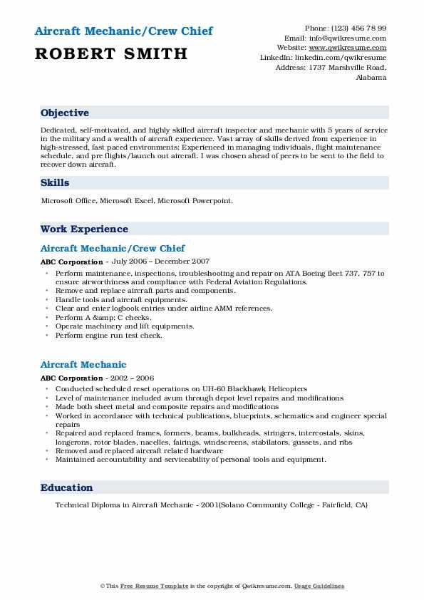 Aircraft Mechanic Resume Samples Qwikresume
