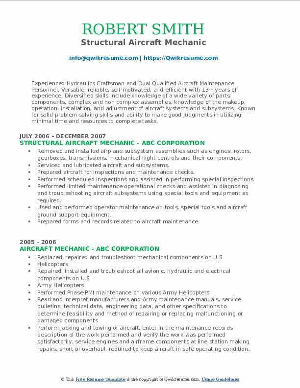 Structural Aircraft Mechanic Resume Sample
