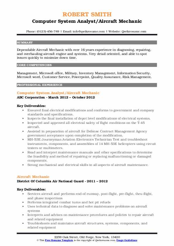 Computer System Analyst/Aircraft Mechanic Resume Format