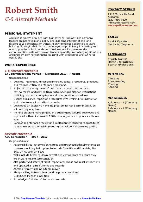 C-5 Aircraft Mechanic Resume Example