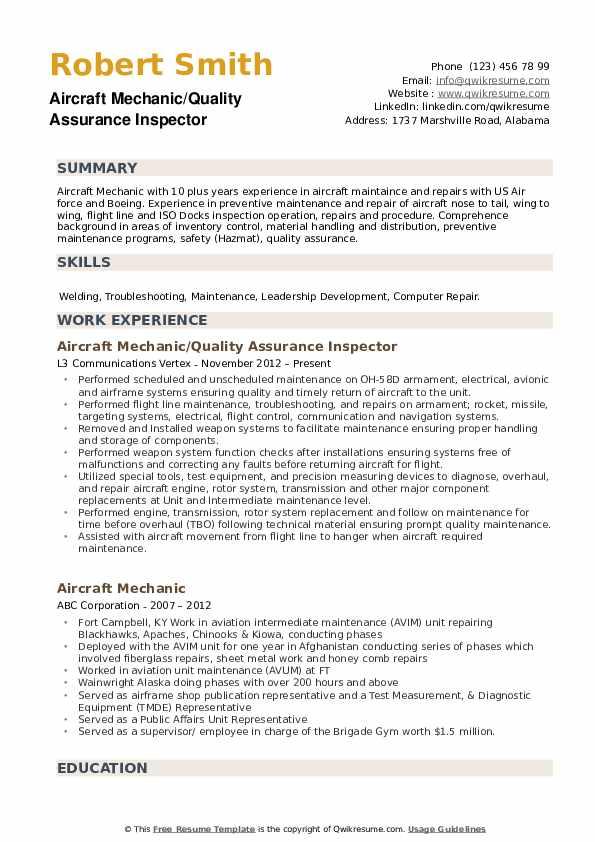 Aircraft Mechanic/Quality Assurance Inspector Resume Template