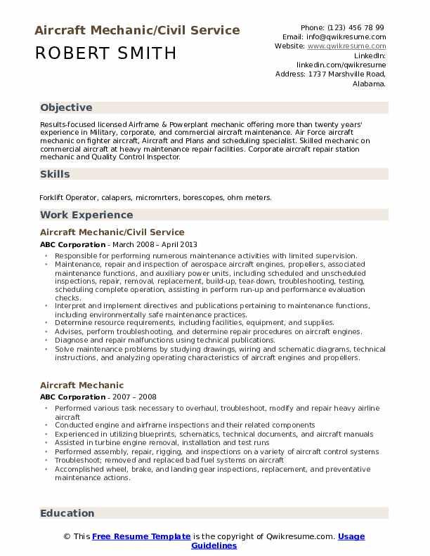 Aircraft Mechanic/Civil Service Resume Template