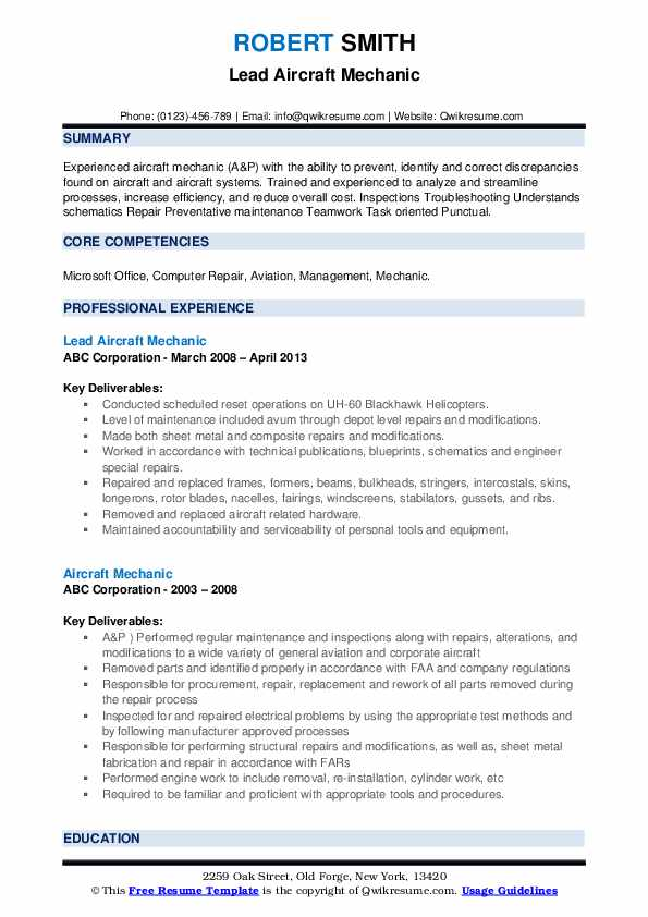 Lead Aircraft Mechanic Resume Example