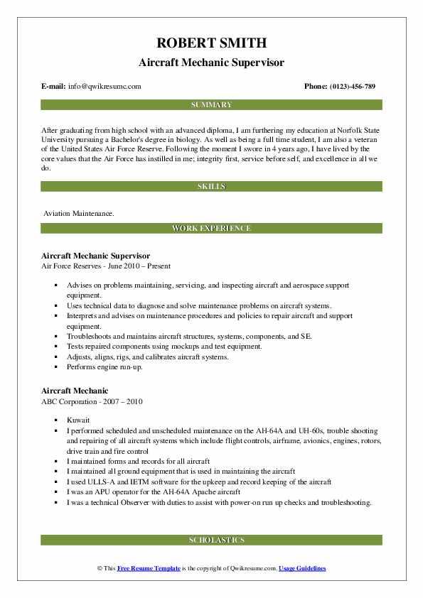Aircraft Mechanic Supervisor Resume Sample