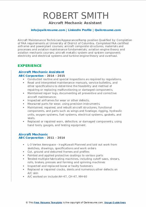 Aircraft Mechanic Assistant  Resume Sample