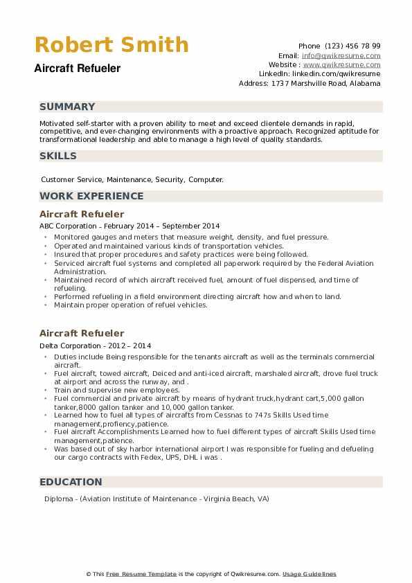 Aircraft Refueler Resume example