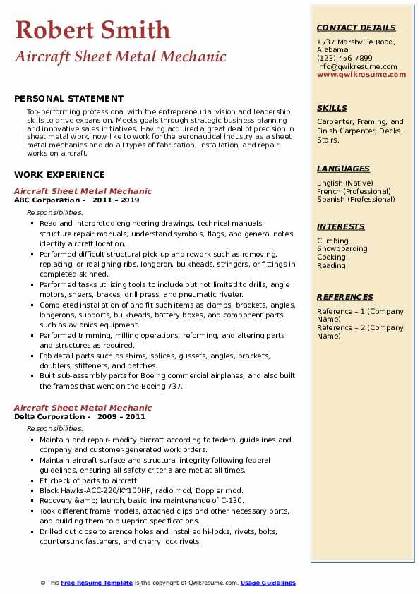 aircraft sheet metal mechanic resume samples  qwikresume