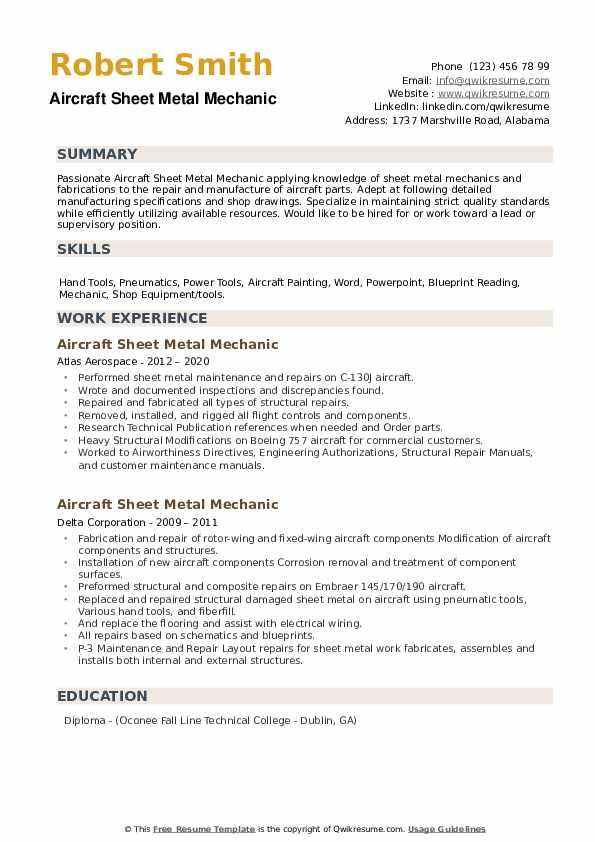 Aircraft Sheet Metal Mechanic Resume example