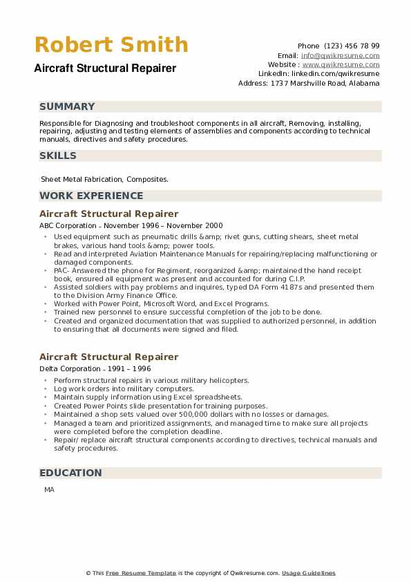 Aircraft Structural Repairer Resume example