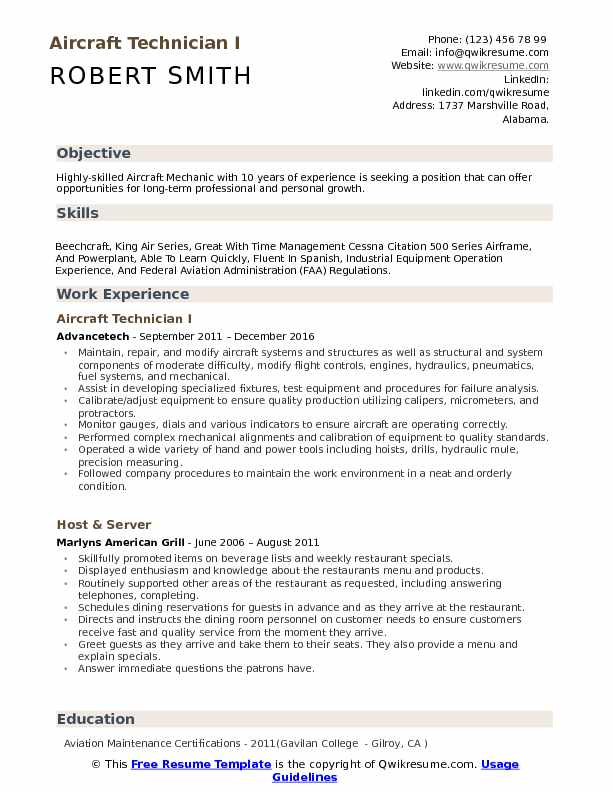 Aircraft Technician Resume Samples | QwikResume