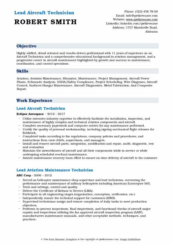 Lead Aircraft Technician Resume Format