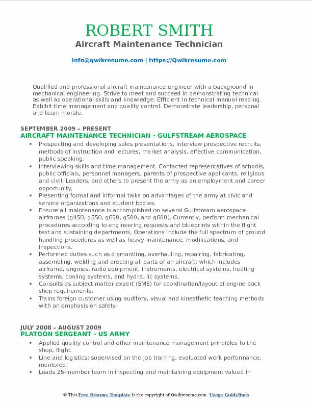 Aircraft Maintenance Technician Resume Sample