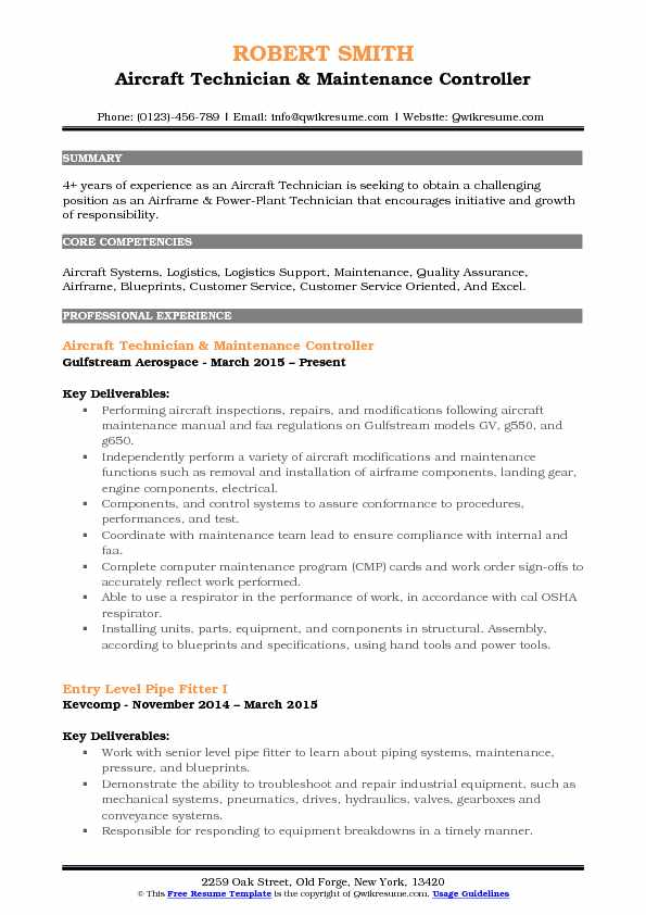 Aircraft Technician & Maintenance Controller Resume Template