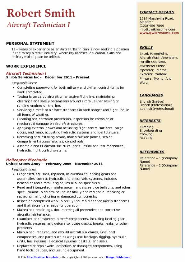 Aircraft Technician I Resume Example