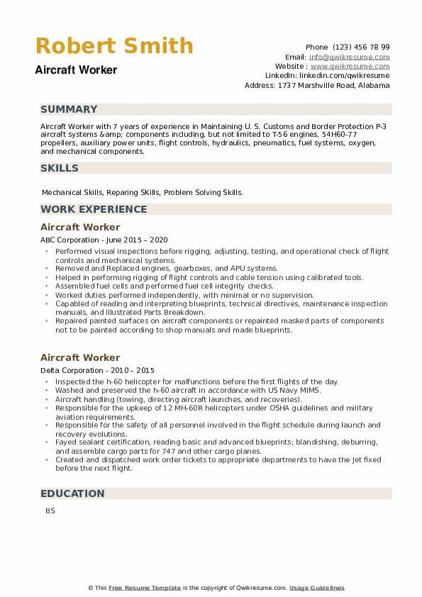 Aircraft Worker Resume example