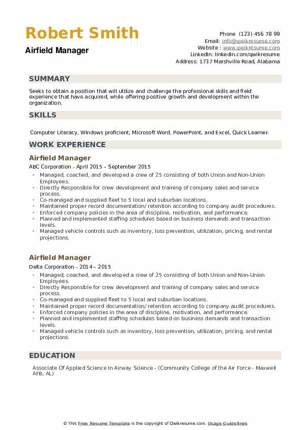 Airfield Manager Resume example