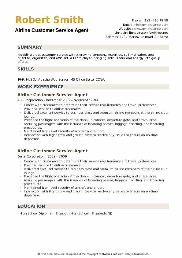 Airline Customer Service Agent Resume example