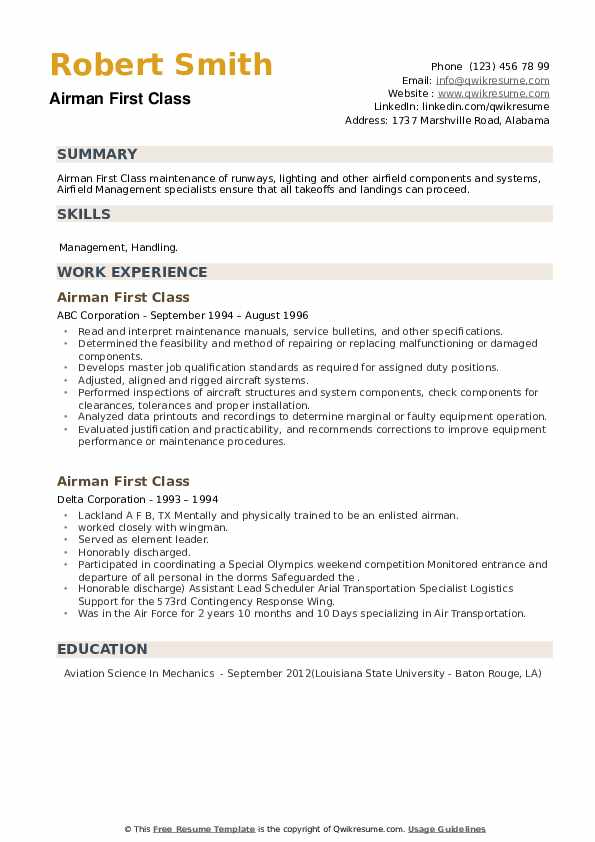 Airman First Class Resume example