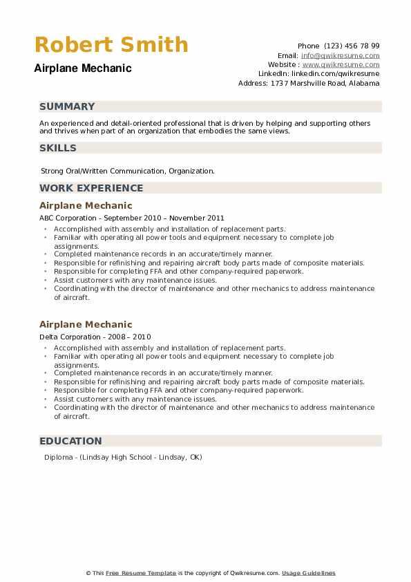 Airplane Mechanic Resume example
