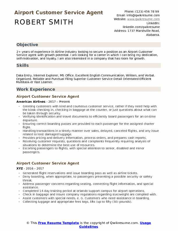 Airport Customer Service Agent Resume Samples | QwikResume