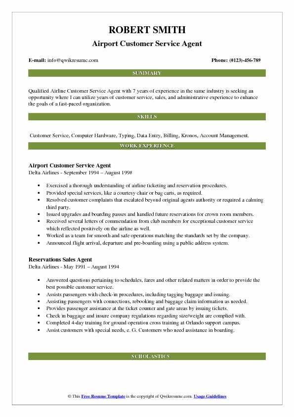 Airport Customer Service Agent Resume Model