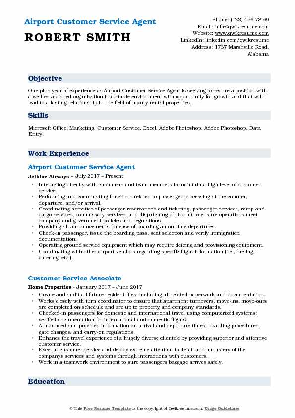 Airport Customer Service Agent Resume Template