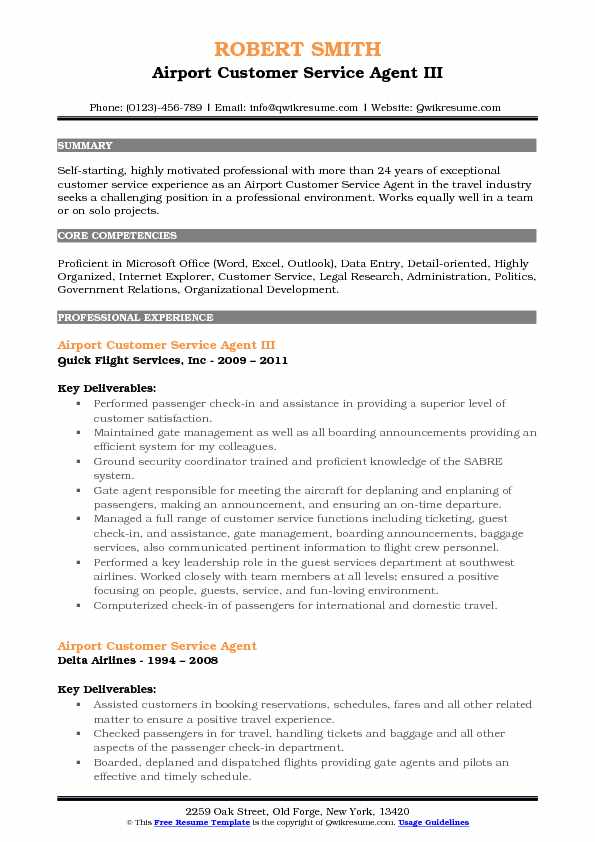Airport Customer Service Agent III Resume Model