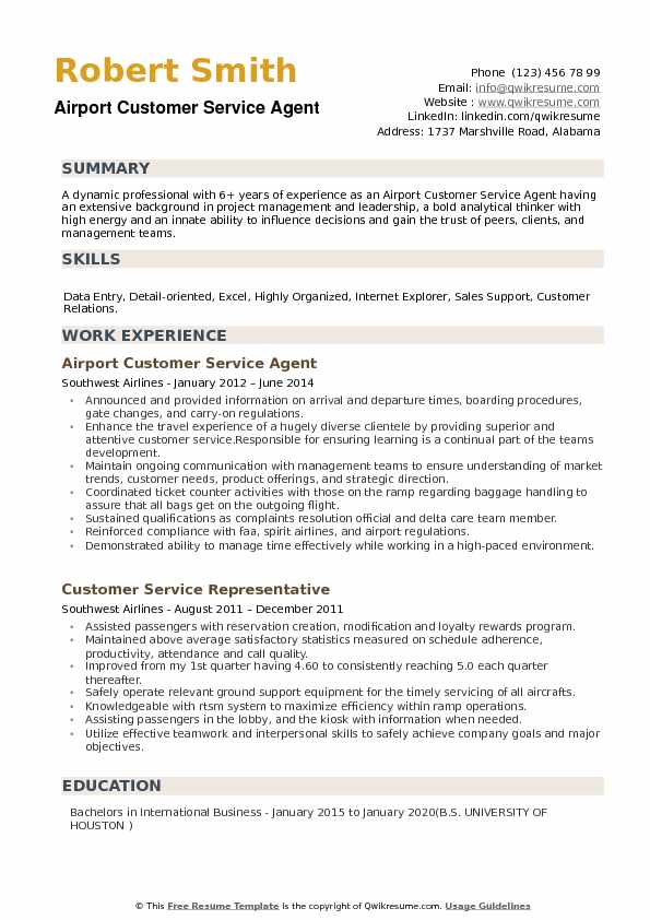 Airport Customer Service Agent Resume