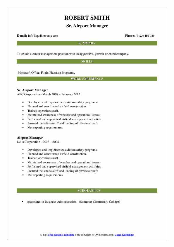 Airport Manager Resume Samples Qwikresume