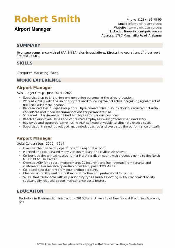 Airport Manager Resume example