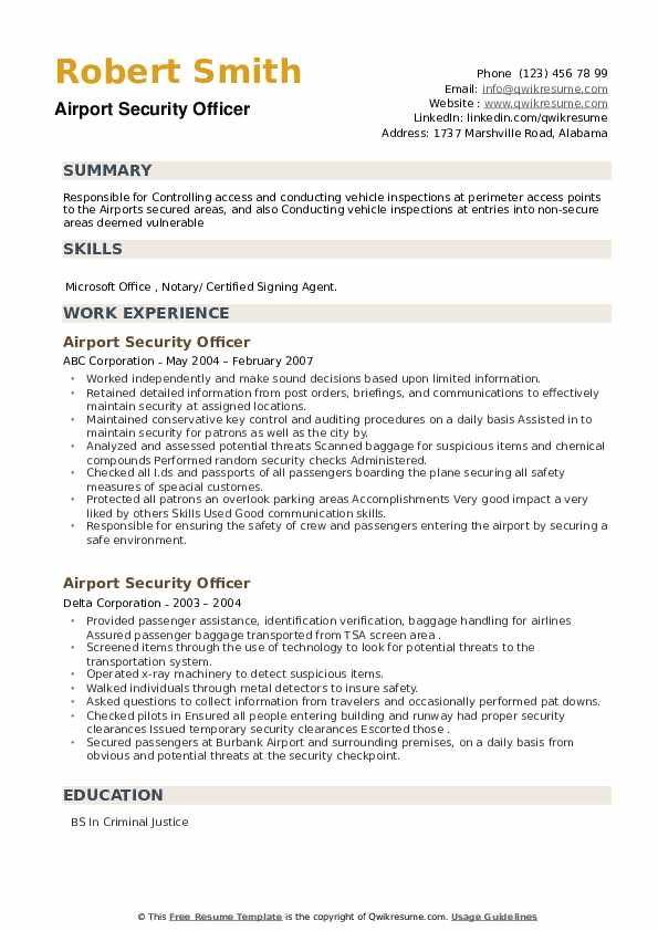 Airport Security Officer Resume example