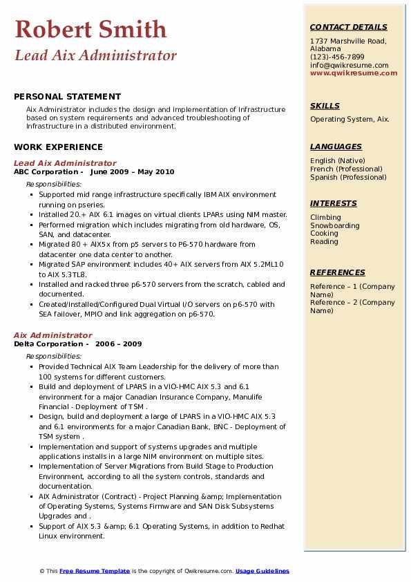 aix administrator resume samples  qwikresume