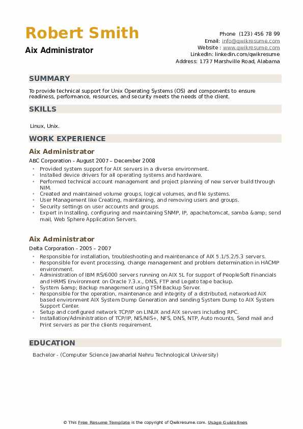 AIX Administrator Resume example
